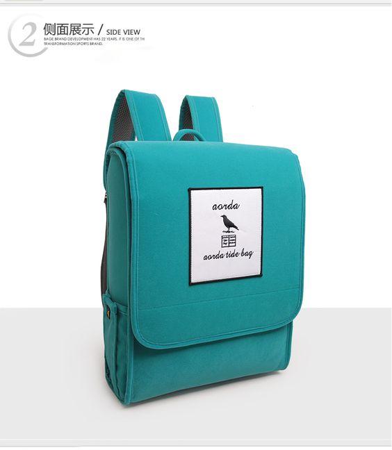 【Q比花園】韓版撞色立體方形雙肩包 後背包 四色
