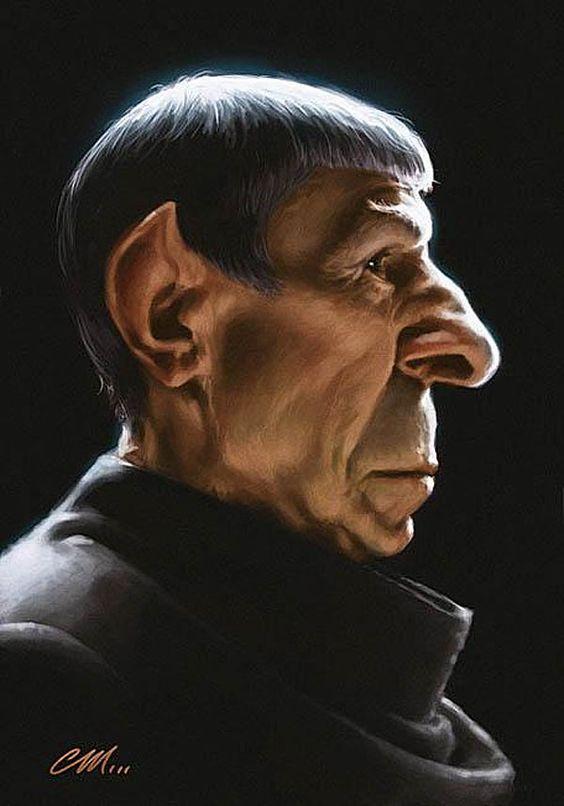 Caricatura de Leonard Nimoy de Sr. Spock de Star Trek.