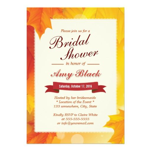 CLICK ON THE LARGER IMAGE FOR PRICING INFORMATION :: Classy Autumn Leaves Bridal Shower Invitations