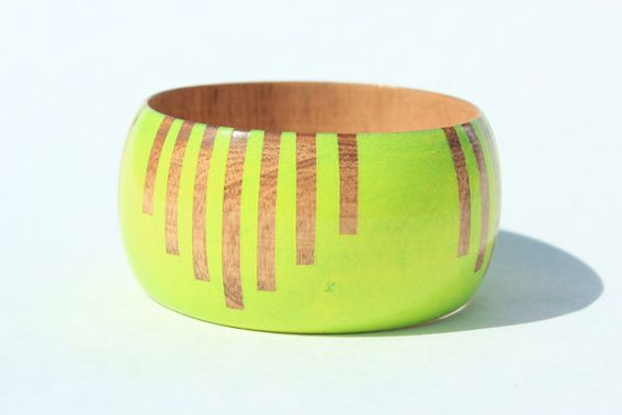 Big wooden bangle  - how to wear neon without overdoing it