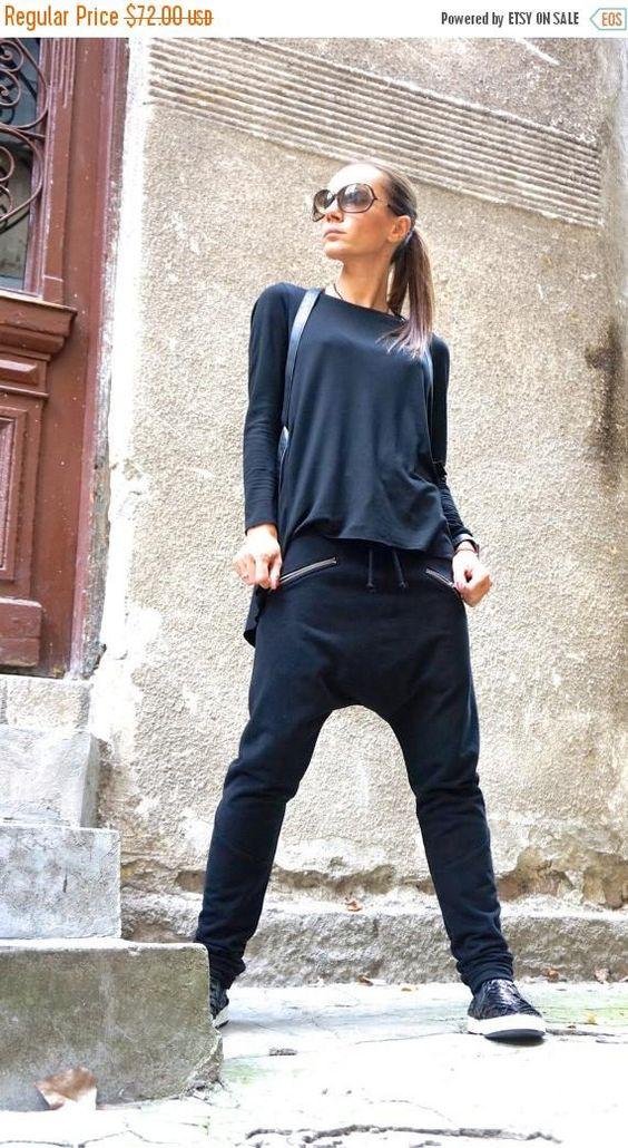 Verkauf neue locker lässig schwarz Tropfen Schritt Harem Pants
