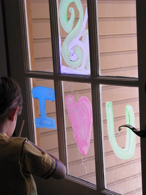 I'm sure the kids would love painting on the windows for an art project