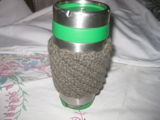 Coffee Cup Cozy Crochet Accesories Sleeve Ribbed by AlpacaShack