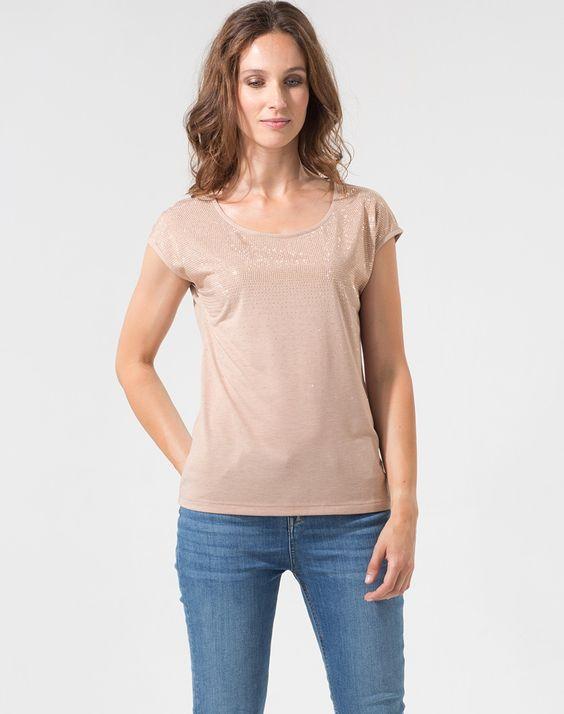 Tee-shirt rose poudré orné de strass Pluie T-Shirts - Eva Herzigova 1-2-3.fr