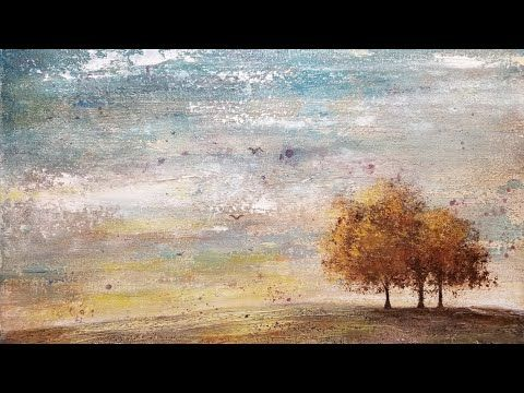 Simple Abstract Tree Landscape Acrylic Painting Live Easy Beginner Tutorial Youtube Abstract Landscape Landscape Trees Cool Landscapes