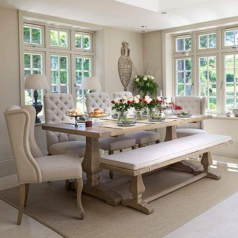 Belvedere Weathered Oak Dining Table French Dining Tables French Inspired Furniture Kitchen Table Oak