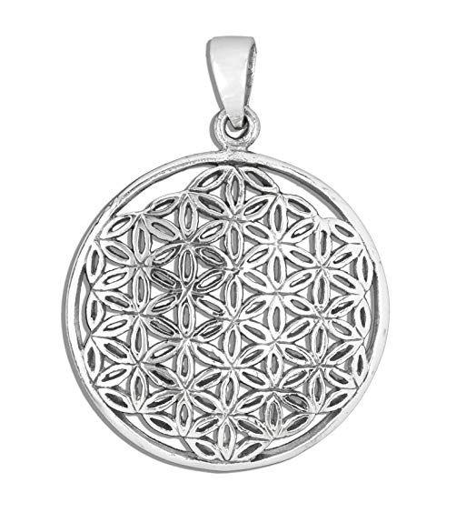 Anhanger Blume Des Lebens Lebensblume 925er Sterling Silber Breite 2 6cm Bartschmuck Silber Lebensblume