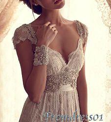 #promdress01 prom dresses - elegant v-neck white lace sweep train rhinestones prom dress for teens, ball gown, evening dress #coniefox #2016prom