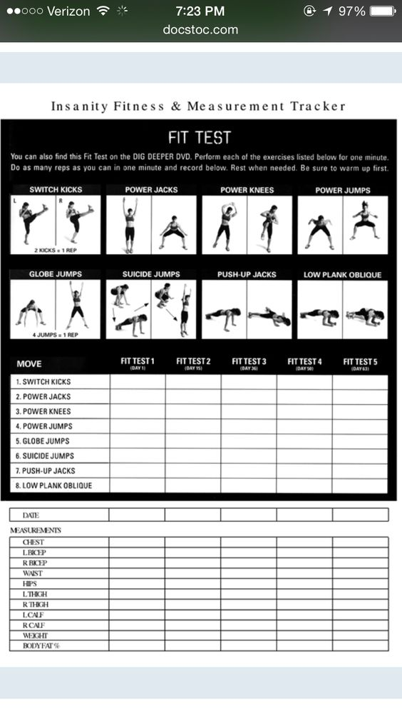 Insanity Workout Schedule  Going To This Program Lasts  Days
