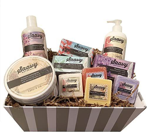 New Spa Gift Baskets Women Gluten Free Vegan 10 Piece Gift Set Includes Organic Body Bars Hand Soap Moisturizing Cream Body Wash Sugar Scrub Online Shopp In 2020 Gift Baskets For