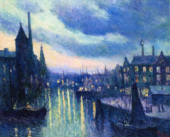:Maximilien Luce-The Port of Rotterdam, Evening