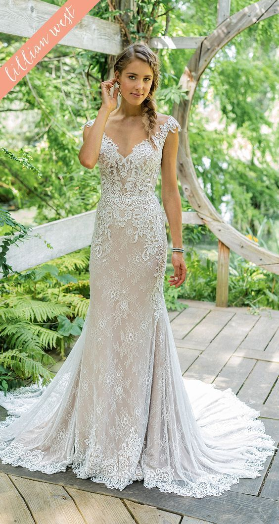 Style 66012 Your Style Is Emphasized In This Modern Fit And Flare Wedding Dress F Fitted Wedding Dress Lillian West Wedding Dress Fit And Flare Wedding Dress