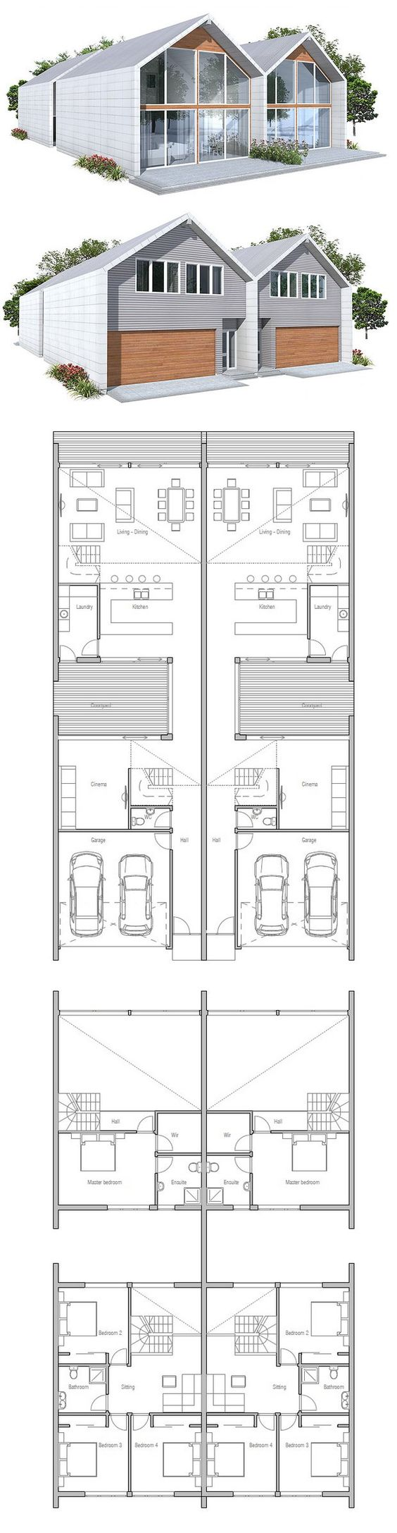Duplex house plan to narrow lot 2 bed plans for Narrow lot duplex