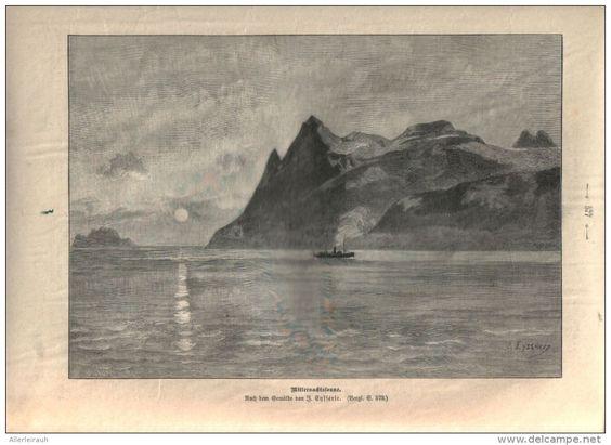 """Mitternachtssonne  - Druck, entnommen   aus """"die Gartenlaube"""", 1897"""