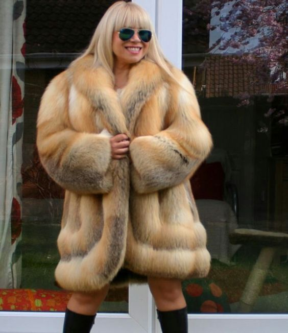 Golden island fox fur coat