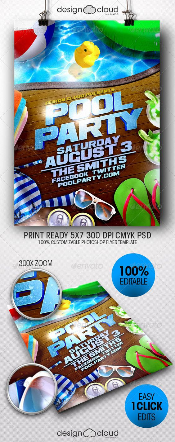 Party Flyer Flyer Template And Pool Parties On Pinterest