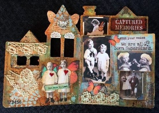 Altered Children's book using DecoArt products-pages 4 and 5.