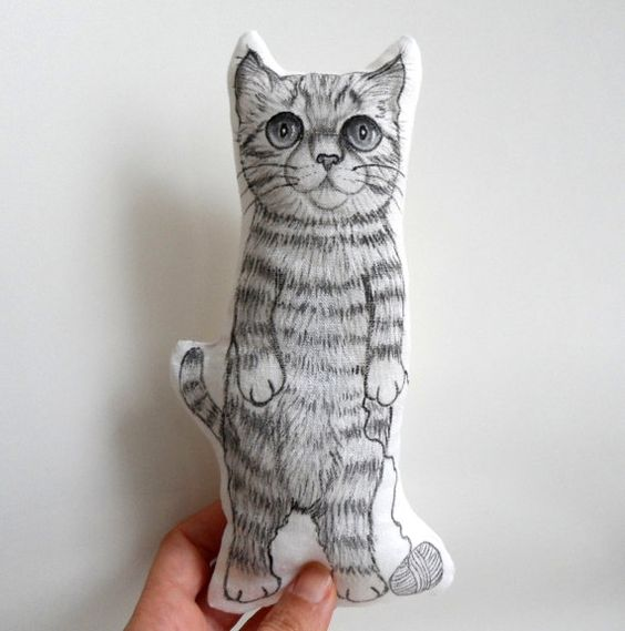 Cat Plush Standing Cat Mini Decorative Pillow by ShebboDesign