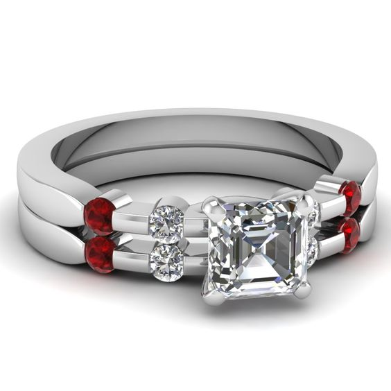 Asscher Cut Diamond Engagement Rings With Red Ruby In 14k White Gold | Tetrad Series Set | Fascinating Diamonds
