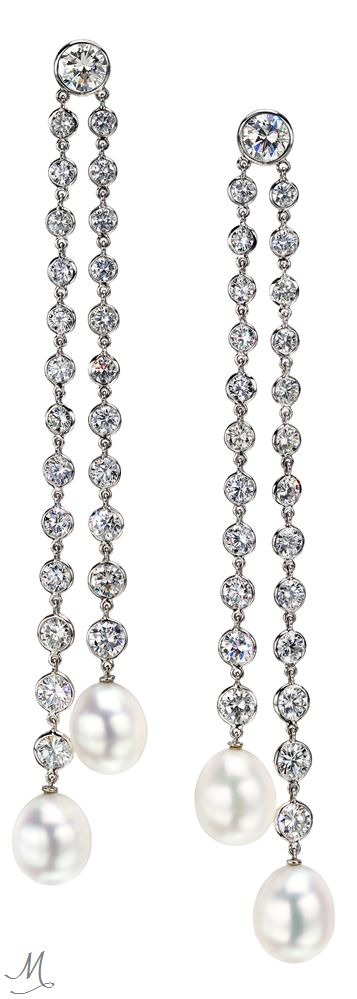 Ivanka Trump Diamond & South Sea Pearl Double Drop Earrings: