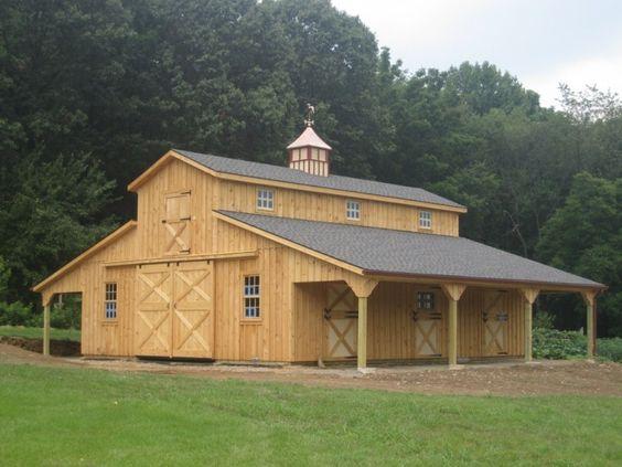 32 x 36 monitor barn w 8 x 36 lean to on each side penn for Monitor pole barn