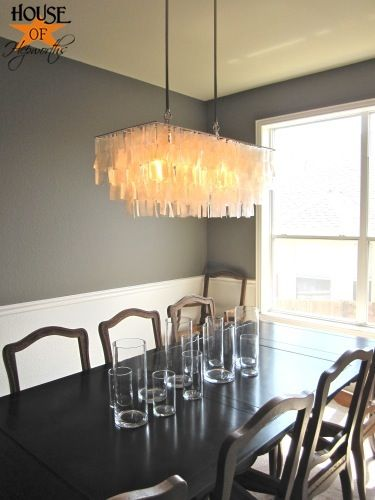 my west elm capiz shell chandelier in someone else's gray dining room. I think it's going to look really nice!