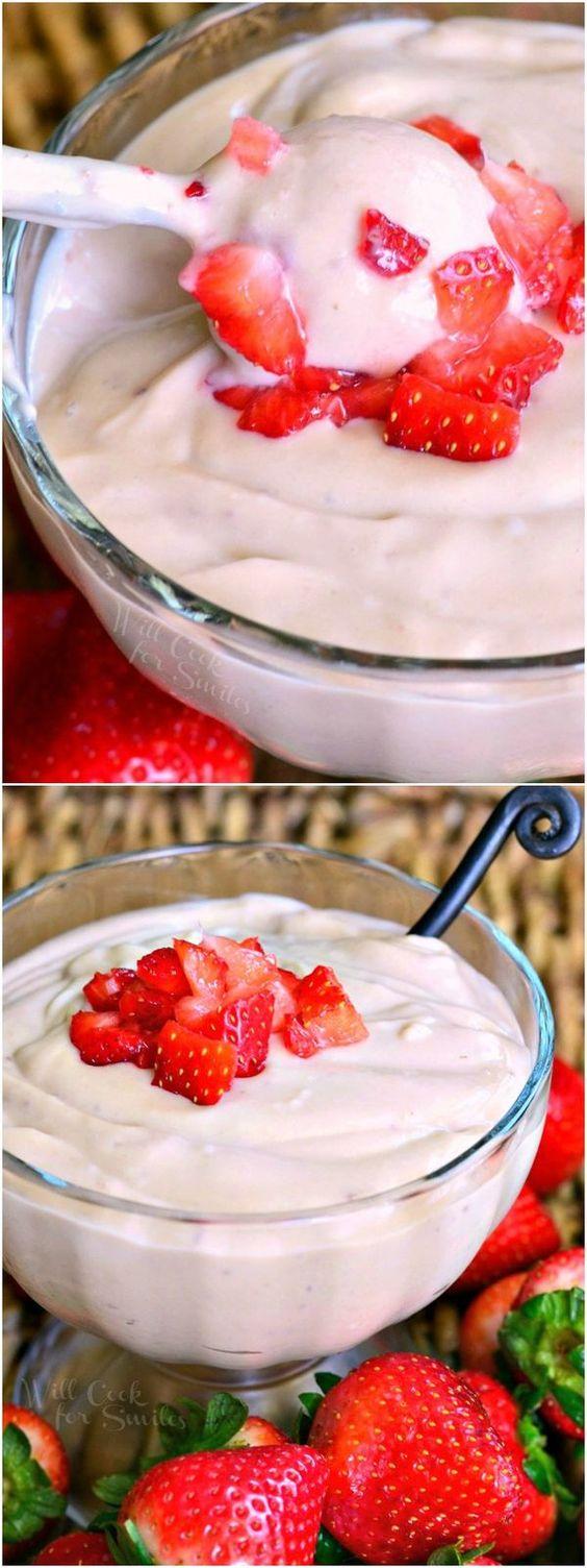 Homemade Strawberry Pudding! from willcookforsmiles.com #dessert #sweet