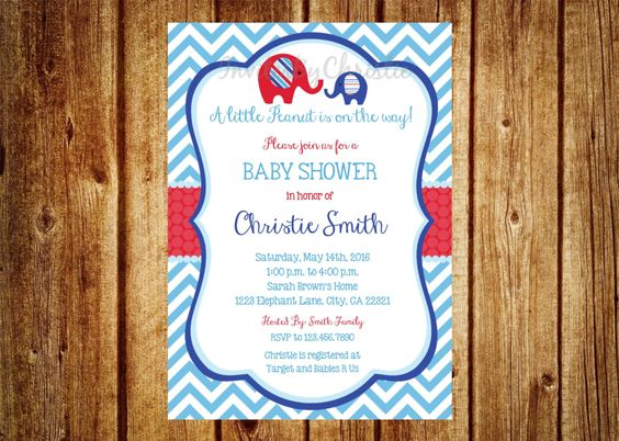 Red, Blue and Teal Elephant Baby Shower Invitation- Digital File- DIY Printable- It's a Boy, Chevron, Teal Baby Shower, Little Peanut by InvitesByChristie on Etsy