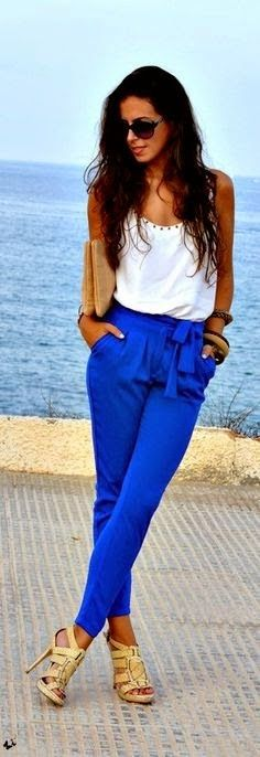 Women's fashion | White cami, electric blue pants, neutral accessories