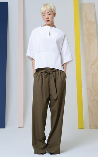 Light Cotton Poplin Bell Bottom Top by ROSIE ASSOULIN for Preorder on Moda Operandi