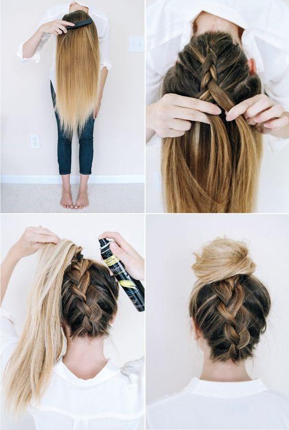 Follow this tutorial for an easy upside-down braid.  via Brit + Co