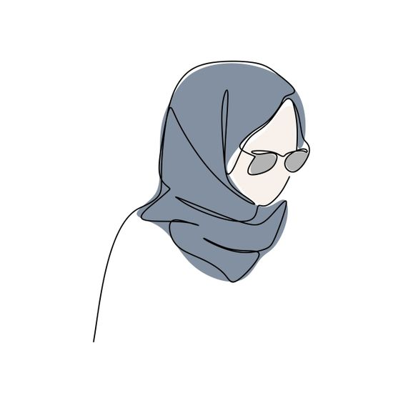 Modern Girl Wearing Hijab Fashion One Continuous Line