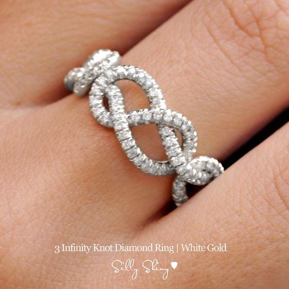 Infinity Diamond Band - 3 Infinity Knots Pave Diamonds 14K Gold. $1,499.00, via Etsy. I need a cheaper version of this.