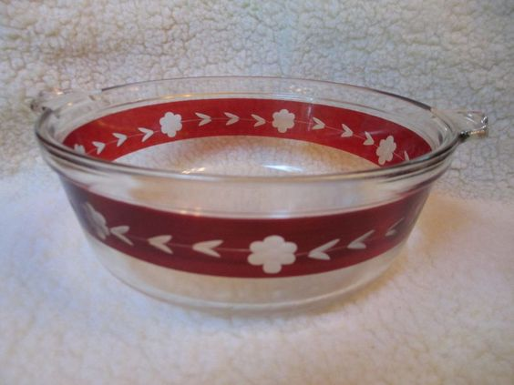 Rare Vintage Clear Pyrex w/ Ruby Red Flash Band Etched Flowers Casserole 1930s #Pyrex