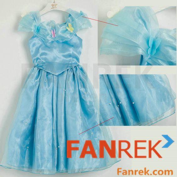 Disney Movie Cinderella 2015 Movie Cosplay Cinderella Kids Dress Costumes