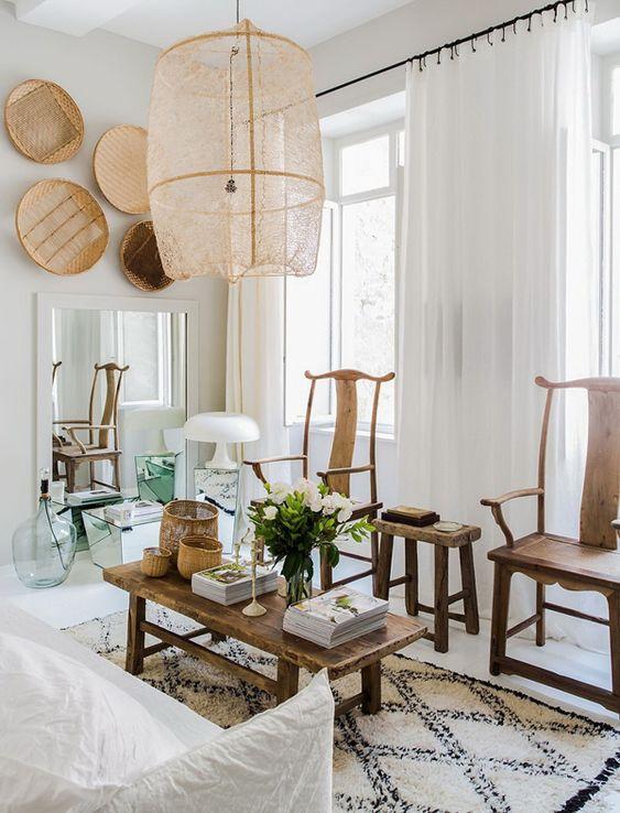 Lámpara de bambú y red de sisal. Fuente: Pinterest.