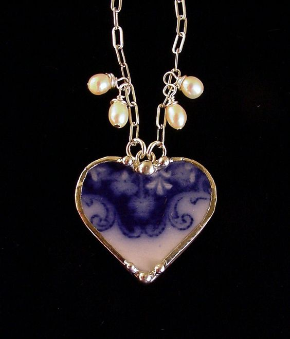 1880's Flow Blue shamrock clover heart pendant necklace by Dishfunctional Designs