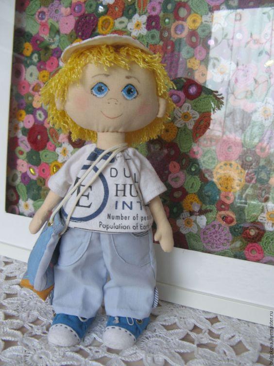 Купить Паша - комбинированный, кукла ручной работы, кукла интерьерная, кукла текстильная, хлопок, трикотаж