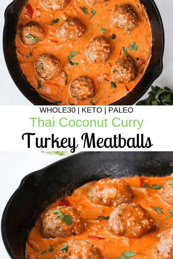 Whole30 Thai Coconut Curry Turkey Meatballs