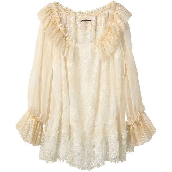 【ELLE SHOP】シフォンレースワンピース アウラ アイラ(AULA AILA) ファッション通販 エル・ショップ (¥27,300) found on Polyvore