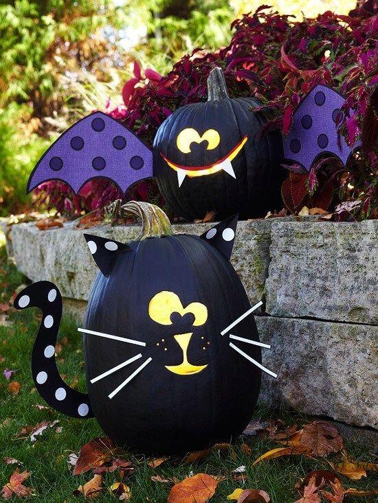 Black Cat & Bat Pumpkins | No-Carve Pumpkin Decorating Ideas For This Halloween