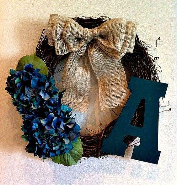 Teal Hydrangea Monogrammed Wreath - initial Wreath - Monogram Wreath - Rustic Wreath - Wreath - Fall Wreath - Door Wreath on Etsy, $42.00 by shelley