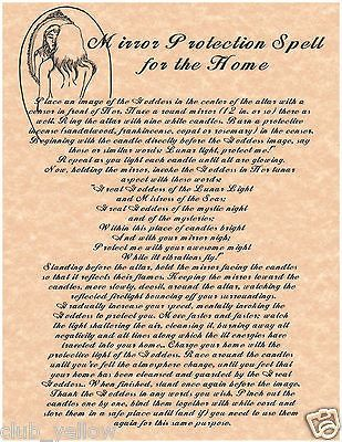 MIRROR PROTECTION SPELL FOR THE HOME Book of Shadows Page BOS Pages Witchcraft