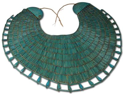 A wesekh, the typical broad collar of the Egyptians. This item is made out of faience beads.