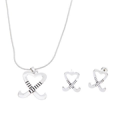 Ice Hockey Jewelry Hockey Charm Necklace /& Earring Gift Set