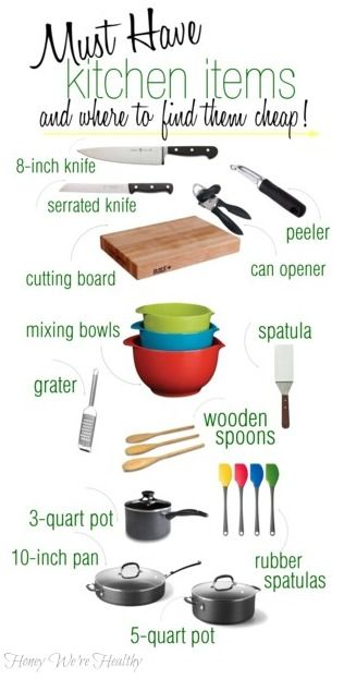 Kitchen Must Haves. I looked a while for a list like this and didn't find one at the time. But I really like this one. I'd include the exact same things on my list with a few additions - a glass or ceramic 9x13 baking pan and a Crock Pot!