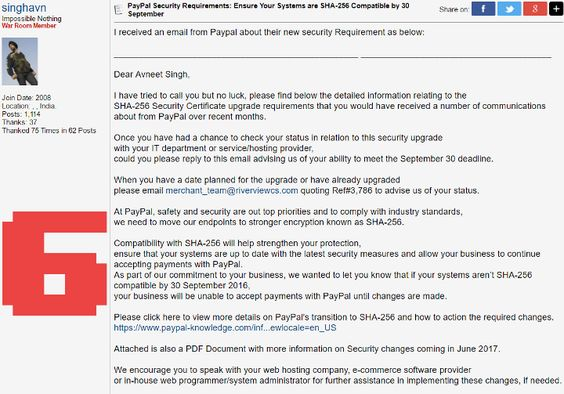 PayPal Security Requirements Email Scam