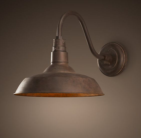 Vintage Barn Sconce Weathered Rust Can Something Like This Work Over Awning Or Not Worth It