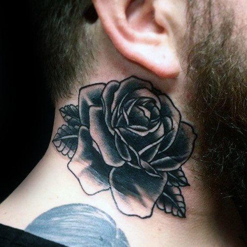 80 Black Rose Tattoo Designs For Men Dark Ink Ideas Rose Tattoos Rose Tattoo Neck Tattoo