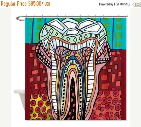 Bathrooms decor dentists shower curtains kids dental teeth